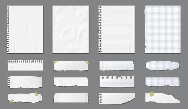 Conjunto de diferentes páginas do caderno e pedaços de papel rasgado