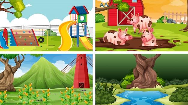 Conjunto de diferentes paisagens