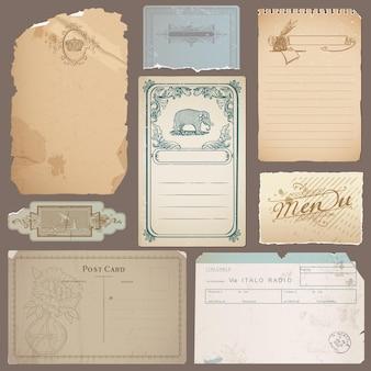 Conjunto de diferentes papéis vintage, cartões e notas antigas