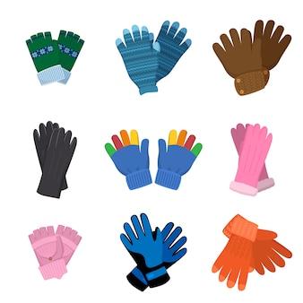 Conjunto de diferentes pares de luvas coloridas para crianças ou adultos