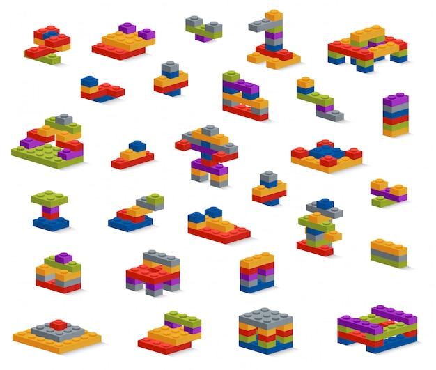 Conjunto de diferentes peças de plástico construtor, várias construções