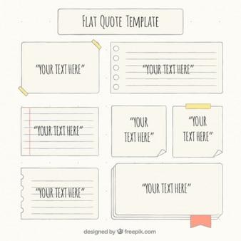 Conjunto de diferentes pedaços de papel para mensagens