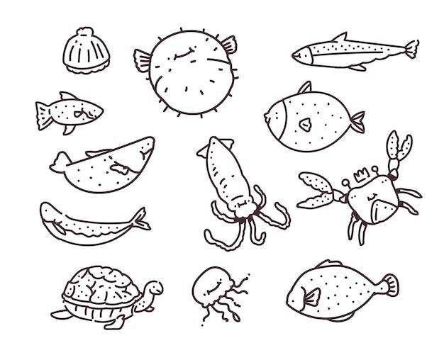 Conjunto de diferentes peixes marinhos. desenho à mão . ilustração do doodle do peixe marinho