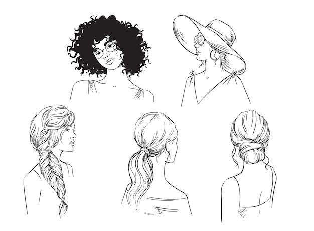 Conjunto de diferentes penteados de verão feminino com desenho em preto e branco