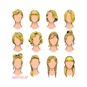 Conjunto de diferentes penteados femininos. ilustração desenhada à mão