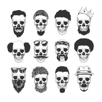 Conjunto de diferentes personagens de caveira com diferentes cortes de cabelo modernos