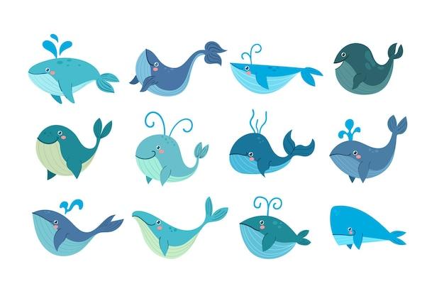 Conjunto de diferentes personagens de desenhos animados de baleias