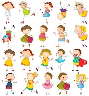 Conjunto de diferentes personagens de desenhos animados doodle de crianças isolado