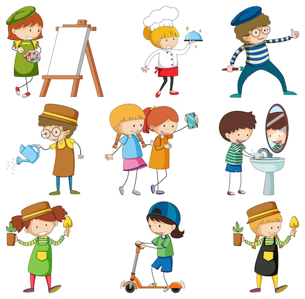 Conjunto de diferentes personagens de desenhos animados doodle de crianças
