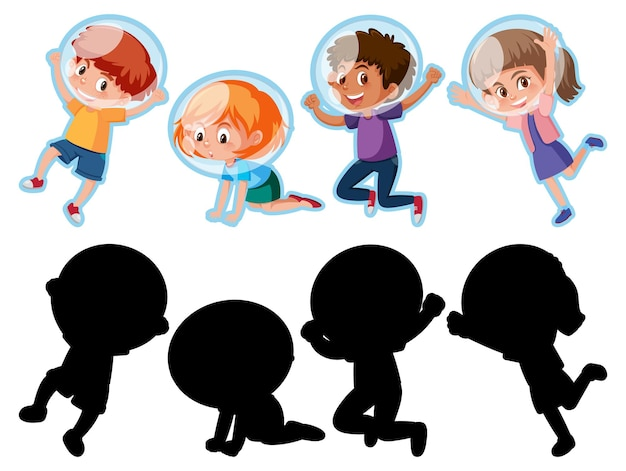 Conjunto de diferentes personagens de desenhos animados infantis