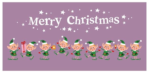 Conjunto de diferentes personagens fofinhos duendes de papai noel e felicitações de texto de feliz natal isoladas. elf carrega caixa de presente, bebe chocolate quente, pula, pisca, sorri. ilustração em vetor plana dos desenhos animados.