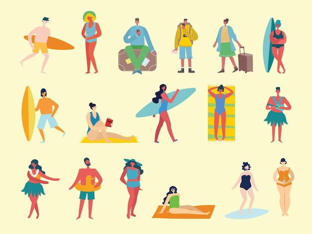 Conjunto de diferentes pessoas de viagens de verão em chiqueiro