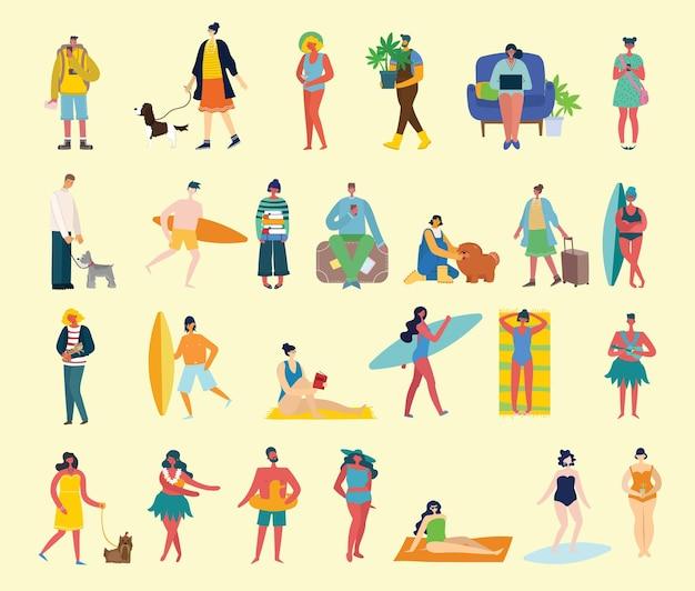 Conjunto de diferentes pessoas de viagens de verão no estilo plano