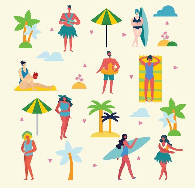 Conjunto de diferentes pessoas e ícones de viagens de verão no chiqueiro plano