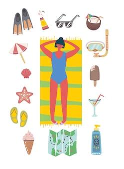 Conjunto de diferentes pessoas e ícones de viagens de verão