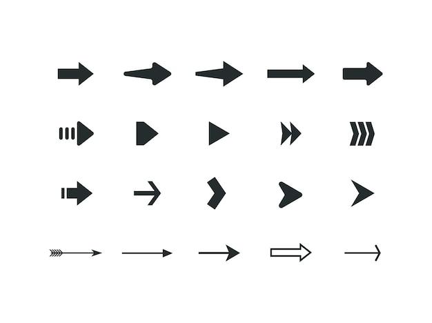 Conjunto de diferentes pictogramas de setas