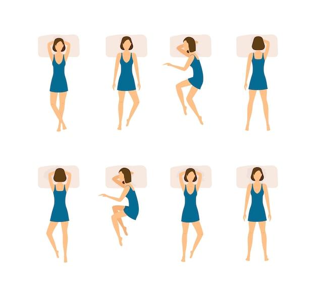 Conjunto de diferentes posições de dormir. mulher da vista superior. estilo simples.