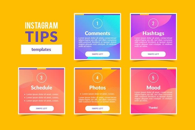 Conjunto de diferentes postagens do instagram