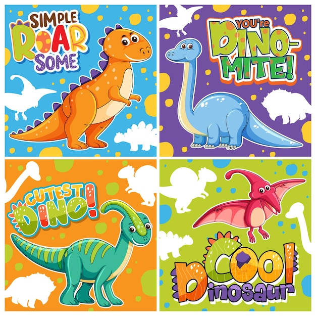 Conjunto de diferentes pôsteres de dinossauros fofos com fonte de fala