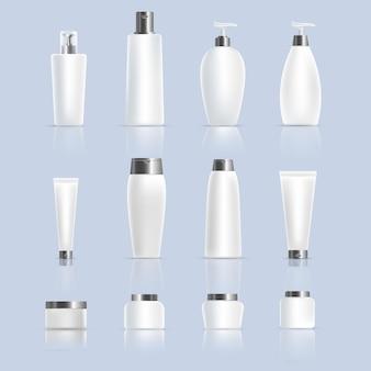 Conjunto de diferentes potes de garrafas e tubos de produtos cosméticos