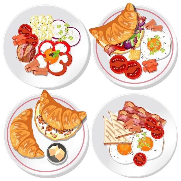 Conjunto de diferentes pratos de café da manhã isolado
