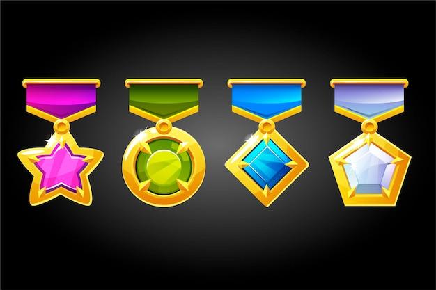 Conjunto de diferentes prêmios com diamantes para o vencedor.