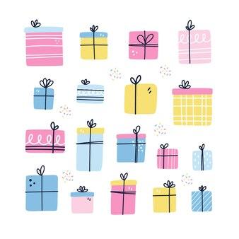 Conjunto de diferentes presentes de aniversário. isola caixas embrulhadas. modelo de cartão bday. ilustração em vetor desenhada à mão