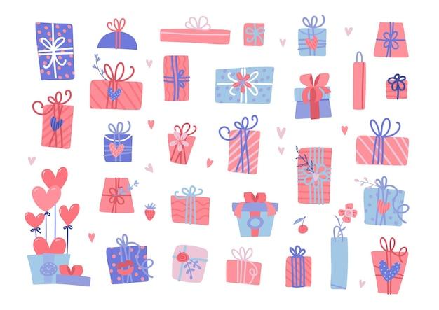 Conjunto de diferentes presentes de dia dos namorados. isola caixas de presente embrulhadas com corações.