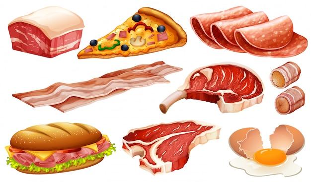 Conjunto de diferentes produtos à base de carne