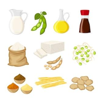 Conjunto de diferentes produtos de soja em um estilo de desenho animado liso, leite, óleo, molho de soja, farinha, tofu, missô, carne, pele de tofu, ilustração de brotos isolada em fundo branco.