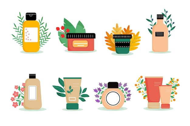 Conjunto de diferentes produtos para rosto e corpo com decoração frascos e bisnagas cosméticas