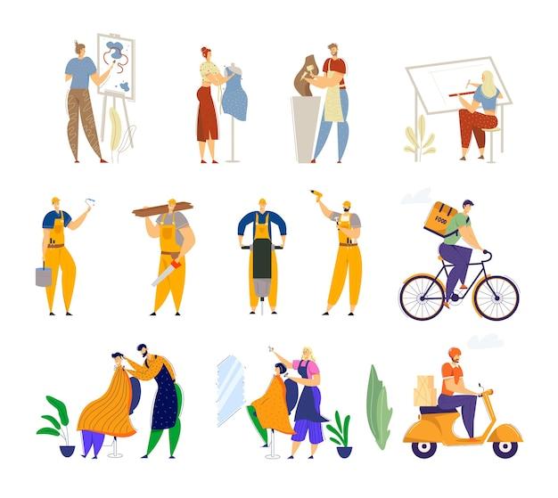 Conjunto de diferentes profissões humanas e ocupações de trabalho.