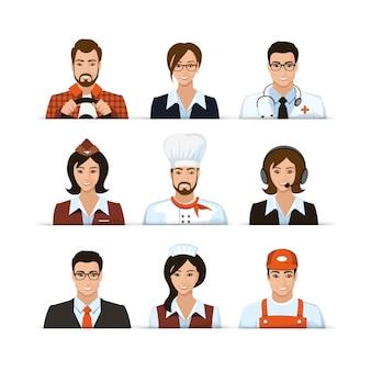 Conjunto de diferentes profissões