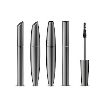 Conjunto de diferentes rímel preto realista fechado em tubos escuros brilhantes com pincel isolado no fundo branco