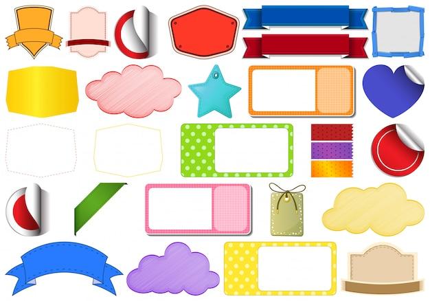 Conjunto de diferentes rótulos, emblemas e fitas