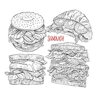 Conjunto de diferentes sanduíches apetitosos. ilustração desenhada à mão