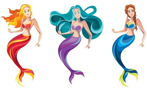 Conjunto de diferentes sereias. personagens femininas no estilo cartoon.