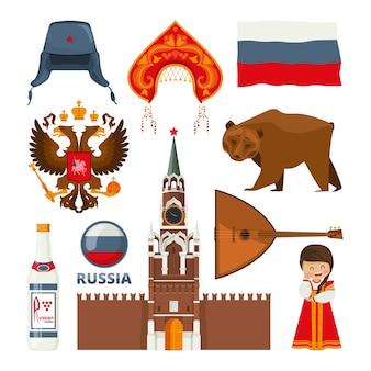 Conjunto de diferentes símbolos nacionais tradicionais da rússia, moscou. cultura e arquitetura russa, ilustração de urso e balalaika