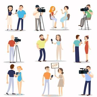 Conjunto de diferentes situações modernas de entrevista, vida cotidiana da cidade