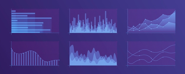 Conjunto de diferentes tabelas e gráficos.