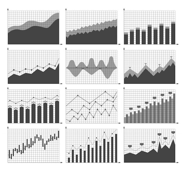 Conjunto de diferentes tabelas e gráficos