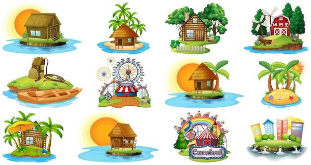 Conjunto de diferentes temas de bangalows, praia da ilha e parque de diversões isolado no fundo branco