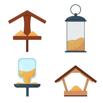 Conjunto de diferentes tipos de alimentadores de pássaros isolados no fundo branco