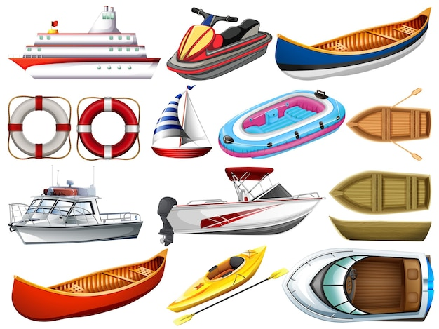 Conjunto de diferentes tipos de barcos e navio isolado no fundo branco
