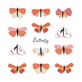 Conjunto de diferentes tipos de borboleta