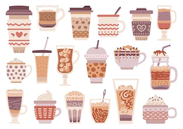 Conjunto de diferentes tipos de café. menu de bebidas de café. coleção de design do copo dos desenhos animados.