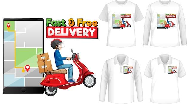 Conjunto de diferentes tipos de camisas com cartoon de entrega rápida e grátis
