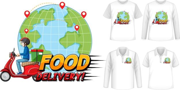 Conjunto de diferentes tipos de camisas com desenho animado de entrega de comida