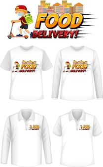 Conjunto de diferentes tipos de camisas com tela de logotipo de entrega de comida nas camisas