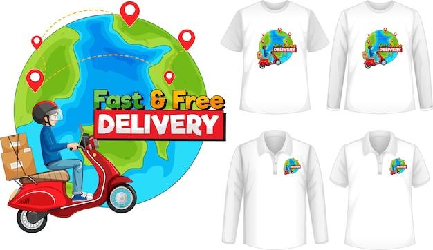 Conjunto de diferentes tipos de camisas com tela de logotipo de entrega rápida e gratuita nas camisas